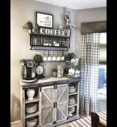 Home Remodeling Living Room 45 Best Farmhouse Living Room Makeover Decor Ideas Coffee Bar Home, Home Coffee Stations, Coffee Bar Ideas, Coffee Corner, Coffee Nook, Coffee Bar Design, Coffee House Decor, Coffee Themed Kitchen, Coffee Bars In Kitchen