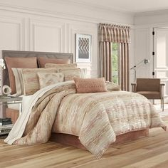The Sunrise Coral Comforter Bedding by J. Queen New York illuminates your bedroom with warm beauty. Oversized comforter has jacquard-woven chenille striae. Queen Comforter Sets, Bedding Sets, Red Comforter, Queens New York, Queen News, Space Furniture, California King, Bedding Collections