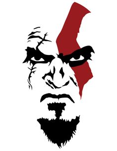 KRATOS Joker Kunst, Kratos God Of War, Joker Art, Stencil Art, Drawing Stencils, Stenciling, Face Art, Art Sketches, Vector Art