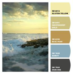 ocean sea blues yellows corn sky sun sunrise seafoam cool slates earth bedroom den boy nursery kitchen guest room soft strong sophisticated nature palette Paint colors from #ChipIt by #SherwinWilliams