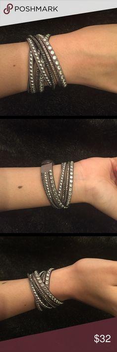 Trendy! Grey Wrap Around Bracelet Trendy!! Grey Wrap Around Bracelet With Rhinestones Jewelry Bracelets