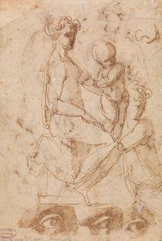 Mer om Baccio Bandinelli (tilskrevet), Sittende naken kvinne med barn på fanget; studier av øye