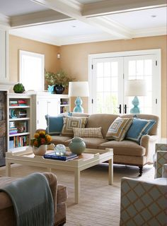 living rooms - Octagon Gourd Lamp turquoise blue lamps 3 cushion beige velvet sofa beige brown pillows ivory chinoiserie coffee table coffered ceiling brown blue lattice chairs white built-ins French doors Octagon Gourd Lamp