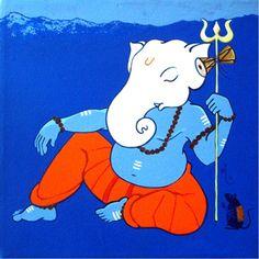 Ganesha Drawing, Lord Ganesha Paintings, Ganesha Art, Shri Ganesh, Krishna Radha, Peacock Painting, Fabric Painting, India Painting, Ganesh Chaturthi Images