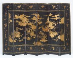 Japanese Six-fold Lacquered Screen Oriental Furniture, European Furniture, Colorful Furniture, Vintage Furniture, Japanese Bedroom, Satsuma Vase, Buddhist Symbols, Chinese Element, Japanese Screen