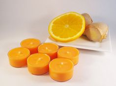 Orange Ginger Soy Tea Light CandlesSet of 6 by aPinkButterfly