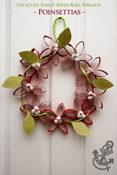 Upcycled Toilet Paper Roll Wreath - Poinsettias