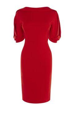 Karen Millen, STATEMENT SLEEVE DRESS Dark Red