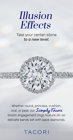 Take your center-stone to a new level with a little elevated illusion effect. Our Simply Tacori collection is freshly elevated with an exquisitely strong yet delicate setting with pavé-set diamonds on a more refined, thinner band delicate band. Now let it bloom with amped-up diamond accents for a unique luminosity light-play. #Tacori #TacoriRing #engagementring #haloring #TacoriBloom #engagementringinspo #DreamRing Tacori Rings, Tacori Engagement Rings, Antique Engagement Rings, Wedding Engagement, Pear Shaped Diamond, Halo Rings, Dream Ring, Illusions, Diamonds