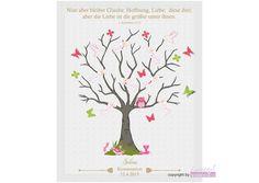 Dekoration - Fingerabdruckbaum Gästebuch Kommunion rosa - ein Designerstück von chef1274 bei DaWanda