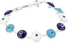 Sterling Silver Blue and White Guardian Eye Bracelet Amazon Collection-$19.96 http://www.amazon.com