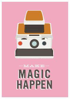 motivational art print  modern poster polaroid camera inspirational quote pink wall decor  Make magic happen. $22.00, via Etsy.