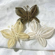Sweetrosepetals - Three Freestanding Paper Quilled Butterflys