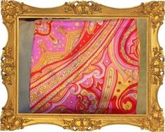 Beautiful BIG Retro Status Design Scarf Pink Yellow Red From France BOHO CHIC #Unknown #Scarf