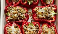 Cooking Channel serves up this Bobby's Stuffed Red Peppers recipe from Bobby… Red Pepper Recipes, Cooking Channel Recipes, Bobby Flay Recipes, Other Recipes, Beef Recipes, Wing Recipes, Barbecue Recipes, Relleno, I Love Food