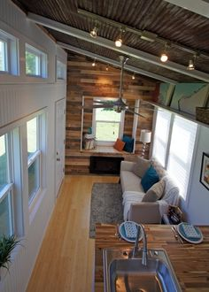 inside small house.This is Valley View Tiny House Company's Yosemite tiny house model.