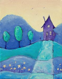 Original Acrylic Landscape Painting of a Tiny Purple House on a Hill with a Row of Trees and Flowers. Purple Home, Purple Art, Purple Teal, 3rd Grade Art, Ecole Art, House On A Hill, Farm House, Art Lessons Elementary, Naive Art