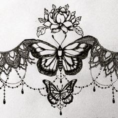 lace sternum tattoo - Google Search