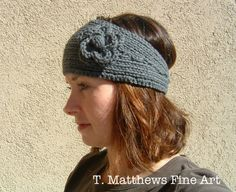 Free Knitting Pattern - Headband Ear Warmer. I knit this already but I didn't crochet the bobble in the flower.