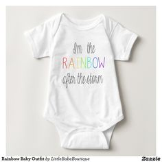 Rainbow Baby Outfit #rainbowbaby #miscarraige #pregnancyloss #rainbow #baby #clothes #onsie #outfit #fashion #expecting #pregnancy #babyshowergift #baby #shower #gift #toddlers #child #Adorable #iwant #zazzle #etsy #monogram