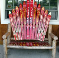 ski bench | Panoramio - Photo of ski collection on a bench..