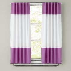 The Land of Nod   Kids Curtains: Purple and White Curtain Panels in Curtains & Hardwares