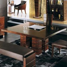 The Giorgio Paradiso Square Dining Table is designed by and is available from . Luxury Dining Tables, Square Dining Tables, Kitchen Dining, Dining Bench, Dining Room, Interior Decorating, Interior Design, House Design, Contemporary