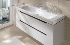 Villeroy & Boch bathroom furniture - Subway 2.0 Furniture Glossy White. (Click on photo for high-res. image.) Photo found here: http://www.europeanbathrooms.com/bathroom_products.php?id=17=V%20(Furniture)