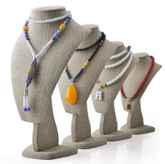 Jewelry window display series-necklace stands with Linen wrapping. Various of sizes are at stock in Winnerpak. Jewelry Holder, Jewellery Display, Wrapping, Wraps, Beaded Necklace, Window, Luxury, How To Make, Design