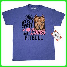 Inktastic This Girl Loves Her Pitbill T-Shirt Small Retro Heather Royal - Retro shirts (*Amazon Partner-Link)
