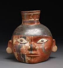 Huari Culture (Middle Horizon Peru, CE) Head Pot with Painted Design (c. Earthenware vessel, 19 x 18 x cm. Native American Pottery, Native American Art, Colombian Art, Mexica, Mesoamerican, Inca, Indigenous Art, Art And Architecture, South America