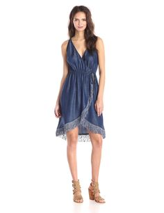 3306f1a5db Amazon.com  7 For All Mankind Women s Fringed Denim Wrap Dress  Clothing 50