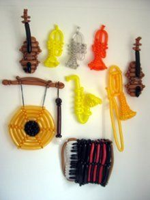 A whole collection of musical instruments made of balloons. Unique!