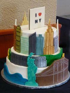 Cake in Shape of New York Skyline