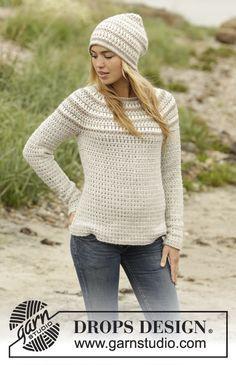Misty Mountain Jumper And Hat By DROPS Design - Free Crochet Pattern - (garnstudio)