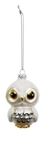 Amazon.com - Creative Co-op Blown Glass Owl Ornament, Choice of Color (white) - Christmas Ornaments