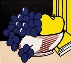 ROY LICHTENSTEIN - Still Life, 1972 Lichtenstein Pop Art, Pop Art Essen, Pop Art Food, Grape Painting, Pop Art Party, James Rosenquist, Industrial Paintings, Still Life Artists, Modern Pop Art