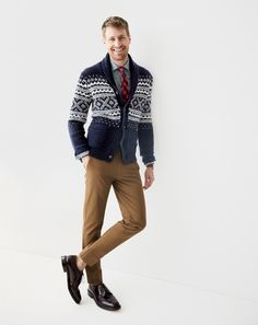 J.Crew Fair Isle shawl cardigan, Ludlow spread collar shirt in chambray and the Alden® for J.Crew Longwing Bluchers shoes. #ShawlCollarCardigan