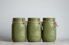 Green Mason Jars, Pint Mason Jars, Twine, Rustic, Holiday Decor, Country Primitive, Retro, Farmhouse Style, Primitives