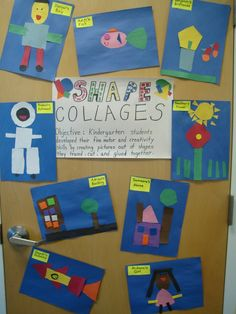 After reading book, Shapes in my World, students trace and cut out shapes to create (shape) collages. A great way for students to explore shapes. Preschool Math, Math Classroom, Kindergarten Activities, Fun Math, Kindergarten Shapes, Math Art, Classroom Ideas, Teaching Shapes, Teaching Math