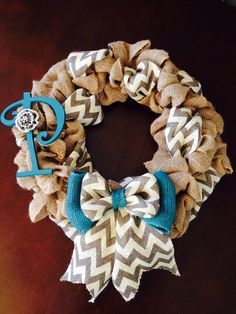 20 Chevron Burlap Wreath with Monogramturquoise by Justalittlechic