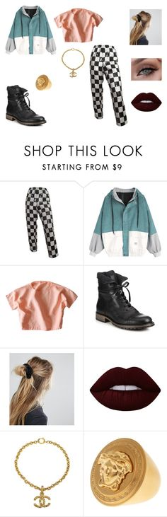"""&"" by ohbabyimrachel ❤ liked on Polyvore featuring Belstaff, ASOS, Lime Crime, Chanel and Versace"