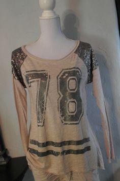 Lindsay Moda Longshirt shirt nude lachs Zahl metallic Pailetten T-Shirt 38 40