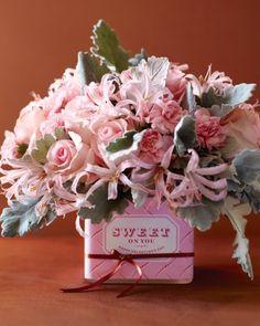 Chocolate wrapper arrangement for Valentine's.