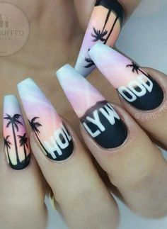 Imagen de hollywood, nails, and nail art Best Acrylic Nails, Summer Acrylic Nails, California Nails, Hollywood Nails, Palm Tree Nails, Glow Nails, Pretty Nail Art, Manicure E Pedicure, Dream Nails