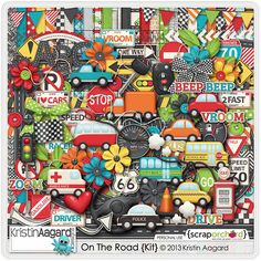 On the Road by Kristin Aagard at Scrap Orchard. Digital Scrapbooking kit themed for cars, play, and vehicular fun.