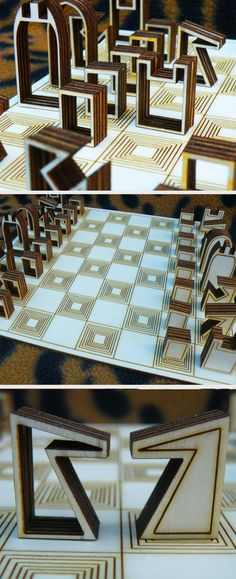 This laser cut chess set is clever and modern.