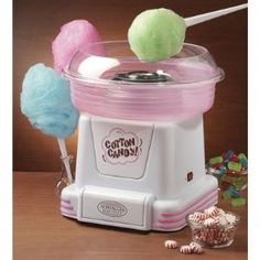 This makes cotton candy from regular hard candies such as jolly ranchers.   I would love this for party favors. This would be cool to have at a wedding reception.