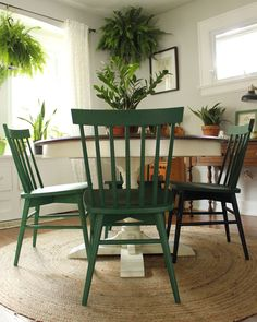 Chairs painted in a mixture of Annie Sloan chalk paint in Amsterdam Green and Antibes