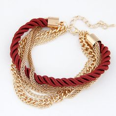 Occident fashion wine red color simple luxury weave multi-layer bracelet